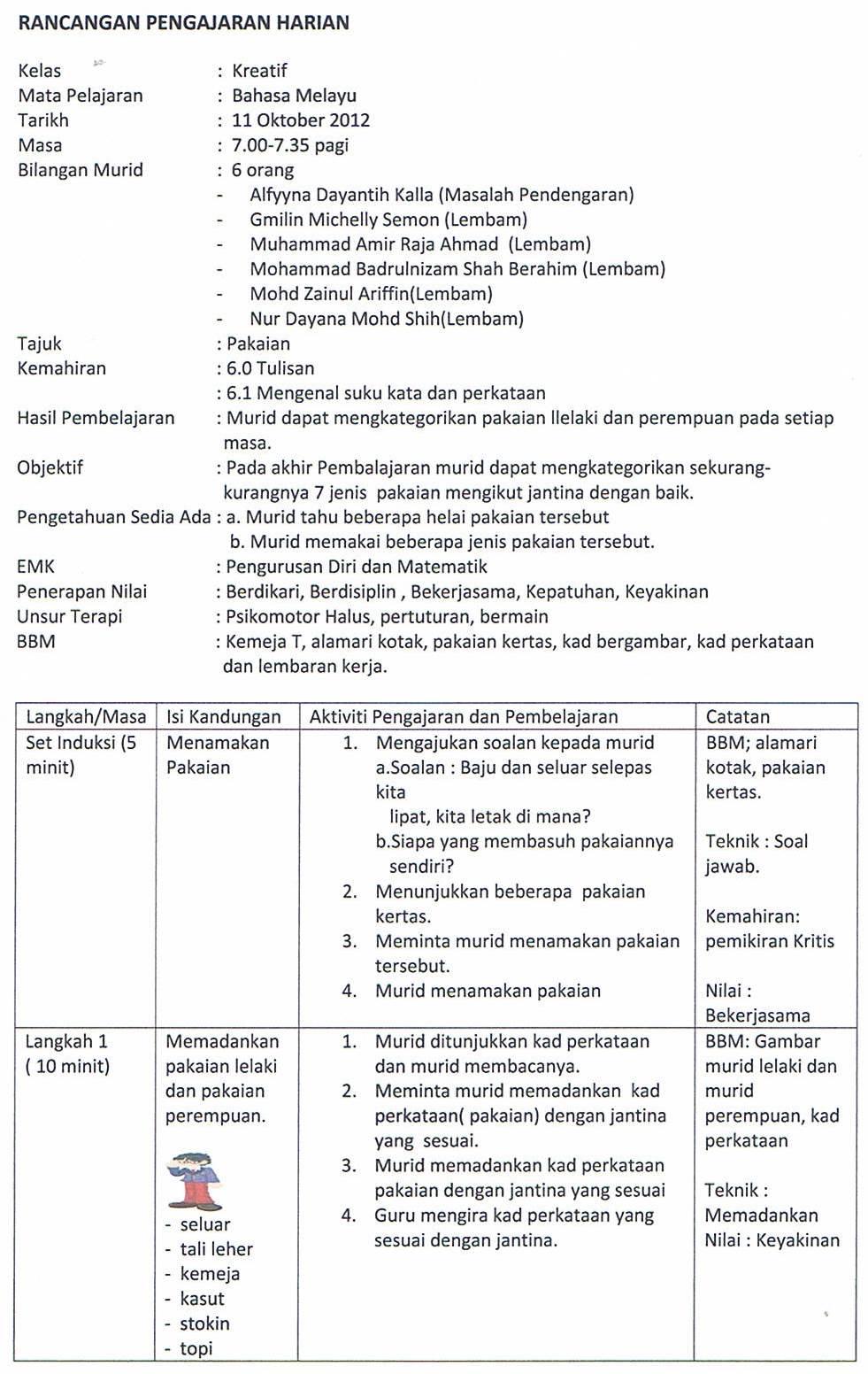 Rancangan Pengajaran Harian Program Pendidikan Khas Integrasi Bahasa Melayu